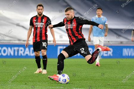 Ante Rebic of AC Milan in action during the 2020-2021 Italian Serie A Championship League match between S.S. Lazio and AC Milan at Stadio Olimpico. Final score; S.S. Lazio 3:0 AC Milan.