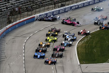 TEXAS MOTOR SPEEDWAY, UNITED STATES OF AMERICA - MAY 02: #9: Scott Dixon, Chip Ganassi Racing Honda, #10: Alex Palou, Chip Ganassi Racing Honda, #12: Will Power, Team Penske Chevrolet, #5: Pato Oâ€Ward, Arrow McLaren SP Chevrolet, #60: Jack Harvey, Meyer Shank Racing Honda, #3: Scott McLaughlin, Team Penske Chevrolet, #3: Scott McLaughlin, Team Penske Chevrolet#27: Alexander Rossi, Andretti Autosport Honda, #51: Pietro Fittipaldi, Dale Coyne Racing with RWR Honda, #18: Ed Jones, Dale Coyne Racing with Vasser Sullivan Honda, #59: Conor Daly, Carlin Chevrolet, 4/, #14: Sebastien Bourdais, A.J. Foyt Enterprises Chevrolet, #20: Ed Carpenter, Ed Carpenter Racing Chevrolet, crash, start at Texas Motor Speedway on Sunday May 02, 2021 in Forth Worth, United States of America. (Photo by Jake Galstad / LAT Images)