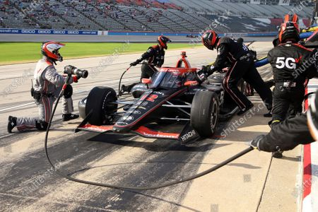 Stock Picture of Will Power makes a pit stop during an IndyCar Series auto race at Texas Motor Speedway, in Fort Worth, Texas