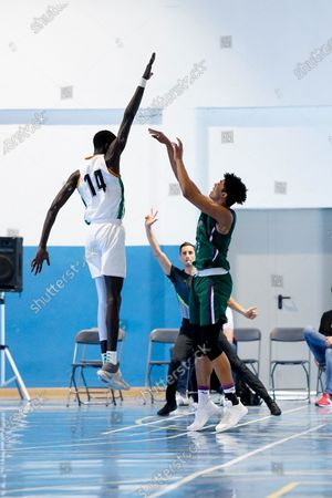 Demba Sheriff tries to block a shoot during the Andalusia Basketball Championship U19 final game between CB Unicaja and Real Betis Baloncesto at Ciudad Deportiva Regino Hernandez in Mijas. (Final score CB Unicaja 82:67 Real Betis Baloncesto)