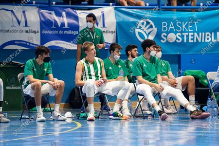 Real Betis substitutive players seen during the Andalusia Basketball Championship U19 final game between CB Unicaja and Real Betis Baloncesto at Ciudad Deportiva Regino Hernandez in Mijas. (Final score CB Unicaja 82:67 Real Betis Baloncesto)