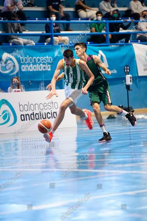 Jose David Gomez in action during the Andalusia Basketball Championship U19 final game between CB Unicaja and Real Betis Baloncesto at Ciudad Deportiva Regino Hernandez in Mijas. (Final score CB Unicaja 82:67 Real Betis Baloncesto)