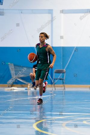 Bernad Edokpayi in action during the Andalusia Basketball Championship U19 final game between CB Unicaja and Real Betis Baloncesto at Ciudad Deportiva Regino Hernandez in Mijas. (Final score CB Unicaja 82:67 Real Betis Baloncesto)