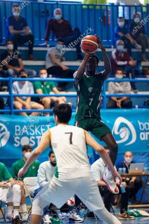 Pierre Sene tries to shoot during the Andalusia Basketball Championship U19 final game between CB Unicaja and Real Betis Baloncesto at Ciudad Deportiva Regino Hernandez in Mijas. (Final score CB Unicaja 82:67 Real Betis Baloncesto)