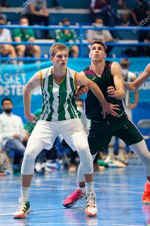 Luis Garcia Perez (l) seen fighting for a rebound with Daniil Shelist during the Andalusia Basketball Championship U19 final game between CB Unicaja and Real Betis Baloncesto at Ciudad Deportiva Regino Hernandez in Mijas. (Final score CB Unicaja 82:67 Real Betis Baloncesto)