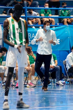 Demba Sheriff (l) and Pablo Gonzalez Ales in action during the Andalusia Basketball Championship U19 final game between CB Unicaja and Real Betis Baloncesto at Ciudad Deportiva Regino Hernandez in Mijas. (Final score CB Unicaja 82:67 Real Betis Baloncesto)