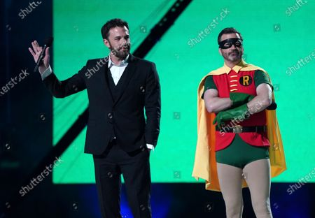 "Stock Image of Ben Affleck and Jimmy Kimmel speak at Vax Live: The Concert to Reunite the World"", at SoFi Stadium in Inglewood, Calif"