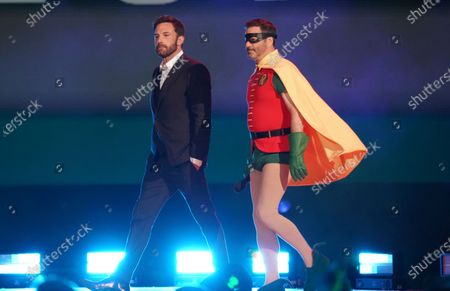 """Ben Affleck and Jimmy Kimmel speak at Vax Live: The Concert to Reunite the World"""", at SoFi Stadium in Inglewood, Calif"""