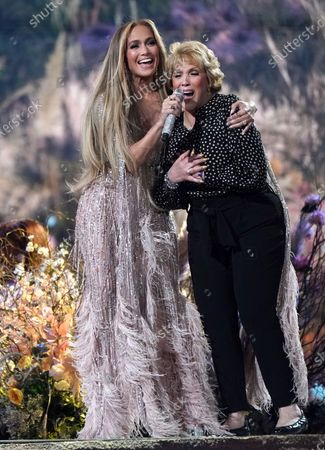 "Jennifer Lopez and her mother Guadalupe Rodriguez perform at Vax Live: The Concert to Reunite the World"", at SoFi Stadium in Inglewood, Calif"