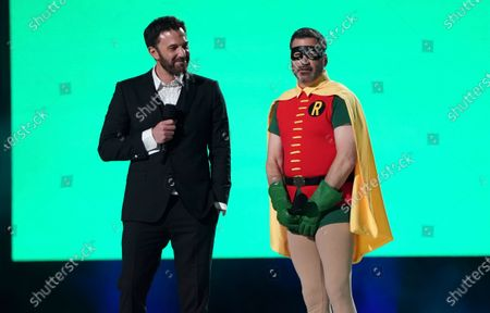 """Stock Photo of Ben Affleck and Jimmy Kimmel speak at """"Vax Live: The Concert to Reunite the World"""", at SoFi Stadium in Inglewood, Calif"""