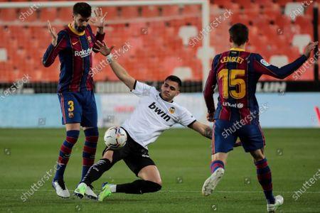 Maxi Gomez  of Valencia CF  (C)    during  spanish La Liga match between Valencia cf and Futbol Club Barcelona  at Mestalla Stadium on May  2, 2021 in Valencia, Spain.