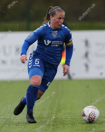 Stock Image of Sarah WILSON  of Durham Women  during the FA Women's Championship match between Durham Women FC and Coventry United at Maiden Castle, Durham City, England on 2nd May 2021.