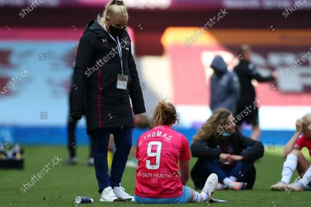 Adriana Leon (19 West Ham United) and Martha Thomas (9 West Ham United) after the FA Womens Super League 1 game between Aston Villa and West Ham United at Villa Park in Birmingham.