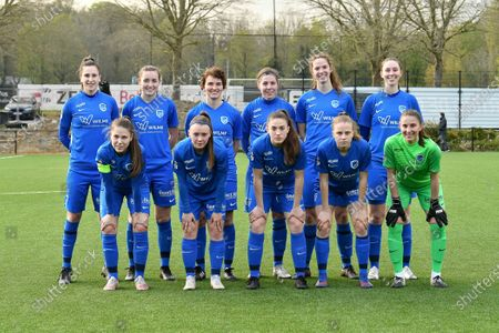(Top row left to right) Gwen Duijsters (13) of KRC Genk, Sterre Gielen (14) of KRC Genk, Lotte Van Den Steen (15) of KRC Genk, Lorene Martin (6) of KRC Genk, Hanne Merkelbach (25) of KRC Genk, Caro Gielen (5) of KRC Genk (front row left to right) Sien Vandersanden (10) of KRC Genk, Fleur Pauwels (66) of KRC Genk, Emily Steijvers (33) of KRC Genk, Luna Vanhoudt (43) of KRC Genk and goalkeeper Josephine Delvaux (1) of KRC Genk pose for the team photo before a female soccer game between Sporting Charleroi and KRC Genk on the 4 th matchday in play off 2 of the 2020 - 2021 season of Belgian Scooore Womens Super League , friday 30 th of April 2021  in Marcinelle , Belgium . PHOTO SPORTPIX.BE | SPP | Jill Delsaux  *NOT FOR USE AND SALE IN BELGIUM*
