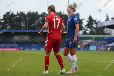 Millie Bright (#4 Chelsea) and Klara Buhl (#17 Bayern Munich)