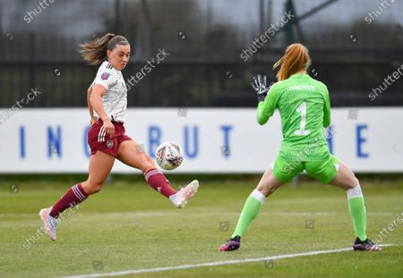 Katie McCabe (15 Arsenal) scores her sides first goal