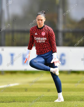 Manuela Zinsberger (1 Arsenal) warms up prior to the Barclays FA Womens Super League game between Everton and Arsenal at Walton Hall Park in Liverpool, England.