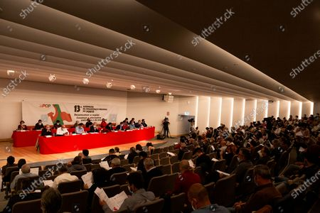 Assembly of regional organization of the Portuguese Communist Party, with the presence of the party leader Jeronimo de Sousa, in the congress center of the Palácio de Cristal, on the 2nd of May, 2021, Porto, Portugal