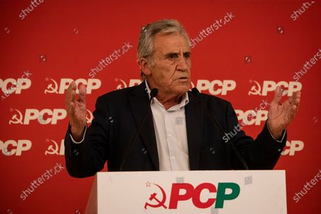 Jeronimo de Sousa, leader of the Portuguese Communist Party speaks at the Assembly of the regional organization of the Portuguese Communist Party, in the congress center of the Palácio de Cristal, on the 2nd of May, 2021, Porto, Portugal