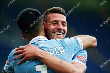 Stock Image of Joaquin Correa of Lazio (L) celebrates with Sergej Milinkovic-Savic (R) after scoring 4-1 goal