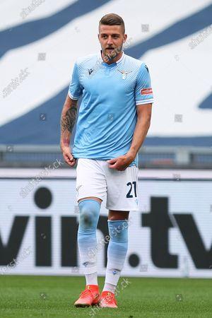 Sergej Milinkovic-Savic of Lazio reacts