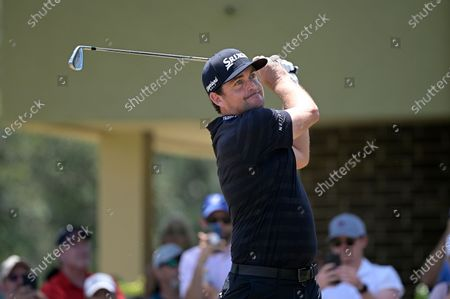 Keegan Bradley tees off on the second hole during the final round of the Valspar Championship golf tournament, in Palm Harbor, Fla