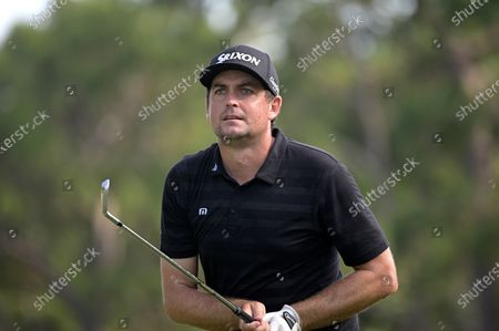 Keegan Bradley watches his tee shot on the 17th hole during the final round of the Valspar Championship golf tournament, in Palm Harbor, Fla
