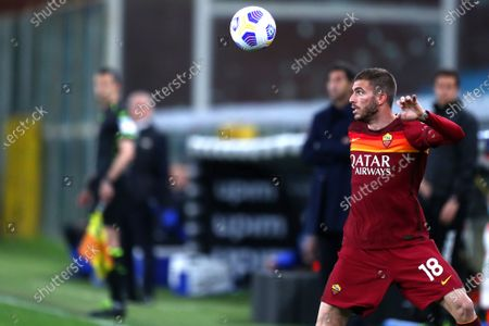 Davide Santon of As Roma in action during the Serie A match between Uc Sampdoria and As Roma at Stadio Luigi Ferraris on May 2 2021 in Genova, Italy.