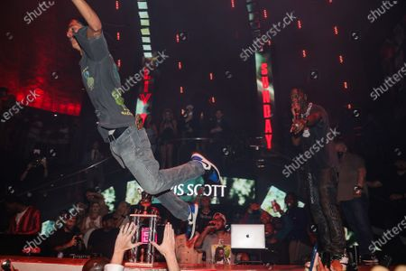 Travis Scott performs at LIV nightclub at Fontainebleau Miami Beach, Florida.