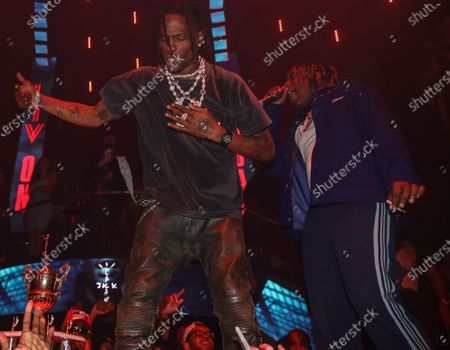 (L-R) Don Toliver and Travis Scott perform at LIV nightclub at Fontainebleau Miami Beach, Florida.