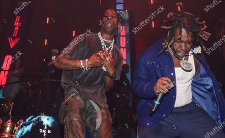 (L-R) Travis Scott and Don Toliver perform at LIV nightclub at Fontainebleau Miami Beach, Florida.