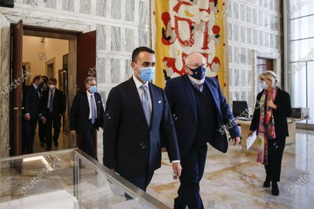 Italian Foreign Minister Luigi Di Maio (L) welcomes Vice President of the European Commission, Frans Timmermans (R), during a bilateral meeting in Rome, Italy, 03 May 2021.