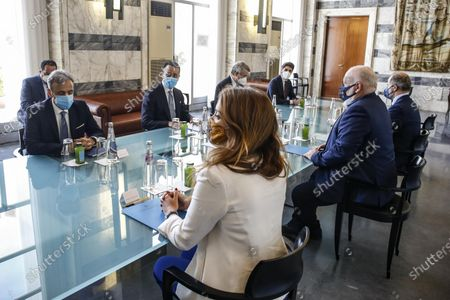 Italian Foreign Minister Luigi Di Maio (2-L) and Vice President of the European Commission, Frans Timmermans (2-R), during a bilateral meeting in Rome, Italy, 03 May 2021.