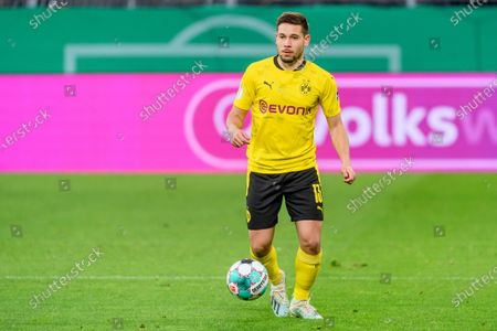 Stock Picture of Raphael Guerreiro (Borussia Dortmund) in action, at the ball, single action in the DFB Cup semi-final game between BV Borussia Dortmund and Holstein Kiel in the Signal Iduna Park.