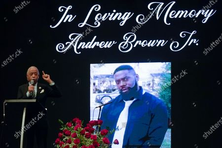 Rev. Al Sharpton speaks during the funeral for Andrew Brown Jr., at Fountain of Life Church in Elizabeth City, N.C. Brown was fatally shot by Pasquotank County Sheriff deputies trying to serve a search warrant