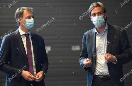 Prime Minister Alexander De Croo and Gent mayor Mathias De Clercq pictured during a visit to the the vaccination center at Flanders Expo in Gent, Monday 03 May 2021.
