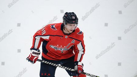 Washington Capitals center Nicklas Backstrom (19) in action during the first period of an NHL hockey game against the Pittsburgh Penguins, in Washington
