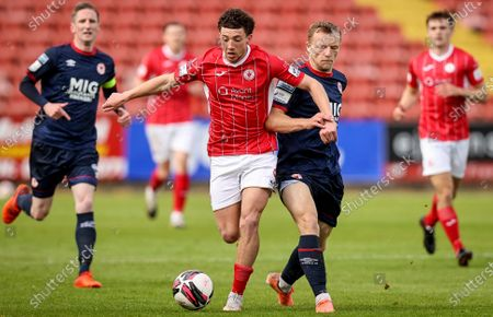 Sligo Rovers vs St. Patrick's Athletic. Sligo's Jordan Gibson with Jamie Lennon of St Patrick's Athletic