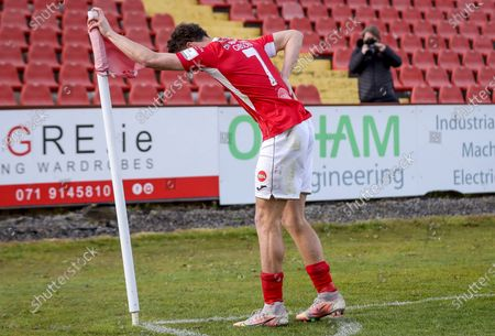 Sligo Rovers vs St. Patrick's Athletic. Sligo's Jordan Gibson celebrates after scoring a penalty