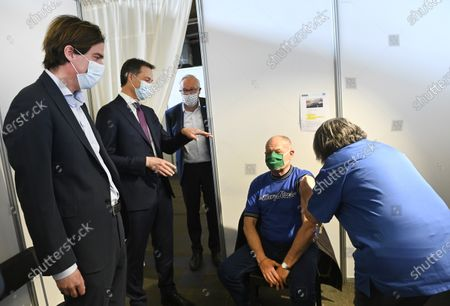 Editorial image of Belgian Prime Minister visits vaccination center, Gent, Belgium - 03 May 2021