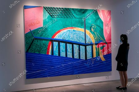 """David Hockney's """"Self-Portrait on the Terrace"""" is displayed during a media preview for Sotheby's May evening auctions of Impressionist, Modern & Contemporary Art, in New York"""