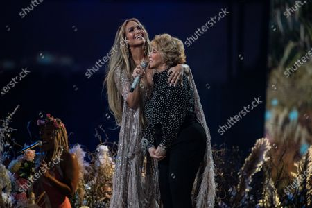 Stock Image of Jennifer Lopez performs with her mom, Guadalupe Rodriguez, at the Vax Live concert at SoFi Stadium on Sunday, May 2, 2021 in Inglewood, CA. (Jason Armond / Los Angeles Times)