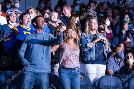 Fans enjoy The Foo Fighters performance at the Vax Live concert at SoFi Stadium on Sunday, May 2, 2021 in Inglewood, CA. (Jason Armond / Los Angeles Times)