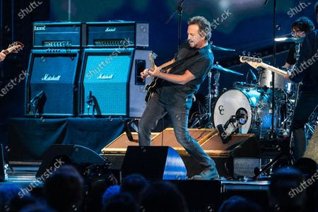 Eddie Vedder performs at the Vax Live concert at SoFi Stadium on Sunday, May 2, 2021 in Inglewood, CA. (Jason Armond / Los Angeles Times)