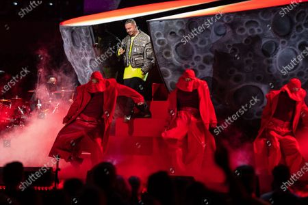 Stock Picture of J. Balvin performs at the Vax Live concert at SoFi Stadium on Sunday, May 2, 2021 in Inglewood, CA. (Jason Armond / Los Angeles Times)