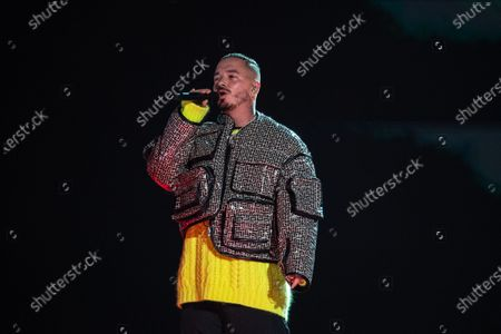 J. Balvin performs at the Vax Live concert at SoFi Stadium on Sunday, May 2, 2021 in Inglewood, CA. (Jason Armond / Los Angeles Times)