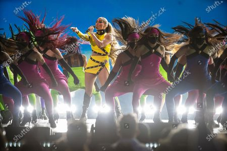 Stock Photo of Jennifer Lopez performs at the Vax Live concert at SoFi Stadium on Sunday, May 2, 2021 in Inglewood, CA. (Jason Armond / Los Angeles Times)