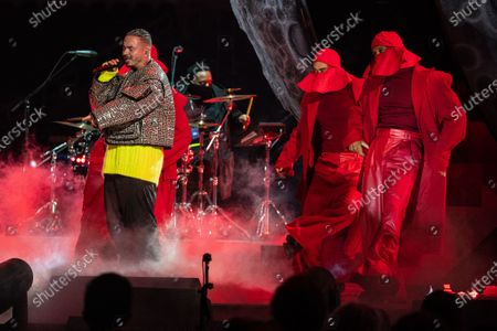 Stock Photo of J. Balvin performs at the Vax Live concert at SoFi Stadium on Sunday, May 2, 2021 in Inglewood, CA. (Jason Armond / Los Angeles Times)