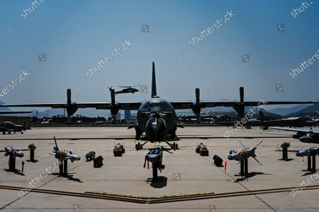 Weapons and aircraft showcasing the capabilities of the Afghan Air Force 777 Special Mission Wing in Kabul, Afghanistan, Wednesday, April 28, 2021. (MARCUS YAM / LOS ANGELES TIMES)