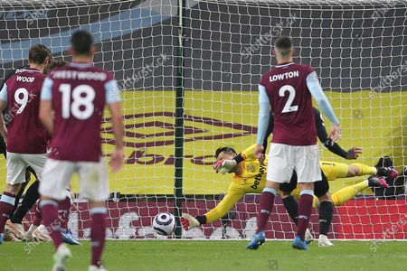 West Ham United goalkeeper Lukasz Fabianski (1) at full stretch to deny Burnley during the Premier League match between Burnley and West Ham United at Turf Moor, Burnley